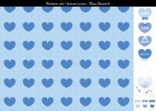 Sömlös hjärtabackgrond i blått färgar tema med bonussymboler - 9 Royaltyfri Illustrationer
