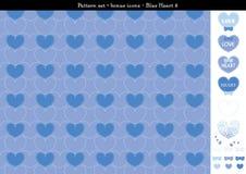 Sömlös hjärtabackgrond i blått färgar tema med bonussymboler - 8 Royaltyfri Illustrationer