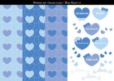 Sömlös hjärtabackgrond i blått färgar tema med bonussymboler - 11 Vektor Illustrationer
