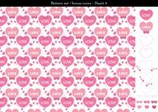 Sömlös hjärtabackgrond i rosa rosa färger färgar tema med bonussymboler - 3 Arkivbilder