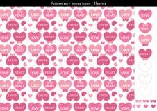 Sömlös hjärtabackgrond i rosa rosa färger färgar tema med bonussymboler - 2 Royaltyfri Illustrationer