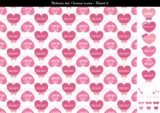 Sömlös hjärtabackgrond i rosa rosa färger färgar tema med bonussymboler - 5 Vektor Illustrationer