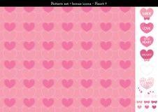 Sömlös hjärtabackgrond i rosa rosa färger färgar tema med bonussymboler - 7 Arkivbilder