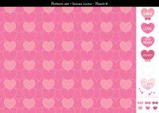 Sömlös hjärtabackgrond i rosa rosa färger färgar tema med bonussymboler - 8 Vektor Illustrationer