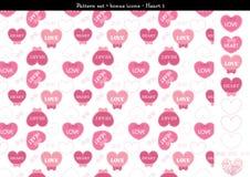Sömlös hjärtabackgrond i rosa rosa färger färgar tema med bonussymboler - 1 Royaltyfri Foto