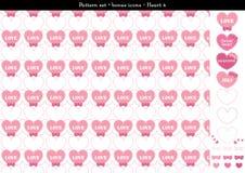 Sömlös hjärtabackgrond i rosa rosa färger färgar tema med bonussymboler - 4 Arkivbilder