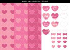 Sömlös hjärtabackgrond i rosa rosa färger färgar tema med bonussymboler - 10 Royaltyfri Illustrationer