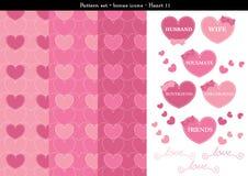 Sömlös hjärtabackgrond i rosa rosa färger färgar tema med bonussymboler - 11 Vektor Illustrationer