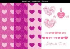Sömlös hjärtabackgrond i rosa rosa färger färgar tema med bonussymboler - 12 Stock Illustrationer