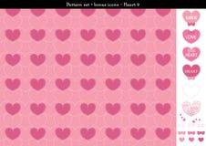 Sömlös hjärtabackgrond i rosa rosa färger färgar tema med bonussymboler - 9 Royaltyfri Illustrationer