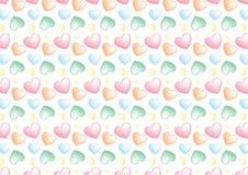 Sömlös hjärtabakgrund i pastellfärgade färger Arkivbilder