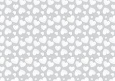 Sömlös hjärtabakgrund i vit- och grå färgfärger Royaltyfri Fotografi