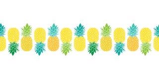 Sömlös horisontalPattrern för ny ananasvektorrepetition gräns i blåa och gröna färger för guling, Utmärkt för tyg royaltyfri illustrationer