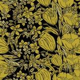 Sömlös illustration för vektor av guld- doppade vallmo, tulpan, spridda blommor och sidor stock illustrationer