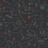 Sömlös illustration med formler och diagram på ämnet av matematik och utbildning, kulöra chalks på den mörka skolförvaltningen stock illustrationer