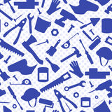 Sömlös illustration på ämnet av konstruktion och reparationen, konstruktionsutrustning, blåa konturer av symboler på backgrouen vektor illustrationer