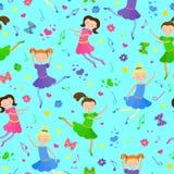 Sömlös illustration på temat av balett och dansen, gulliga flickadansare på en blå bakgrund Arkivfoto