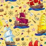 Sömlös illustration på temat av havsloppet, segelbåtar och skepps redskap på en gul bakgrund stock illustrationer