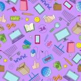 Sömlös illustration på temat av online-shopping och internetdiversehandel, de kulöra symbolerna på purpurfärgad bakgrund Royaltyfri Bild