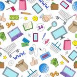 Sömlös illustration på temat av online-shopping och internetdiversehandel, de kulöra symbolerna på vit bakgrund Royaltyfria Bilder