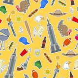Sömlös illustration på temat av resan i landet av Amerika, enkla lappsymboler på gul bakgrund stock illustrationer