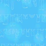 Sömlös illustration på temat av tvagningen och renlighet, olik kläder, ljusa symboler för en kontur på blå bakgrund royaltyfri illustrationer