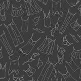 Sömlös illustration på temat av tvagningen och renlighet, olik kläder, ljusa symboler för en kontur på mörk bakgrund vektor illustrationer