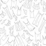 Sömlös illustration på temat av tvagningen och renlighet, olik kläder, mörka symboler för en kontur på ljus bakgrund royaltyfri illustrationer