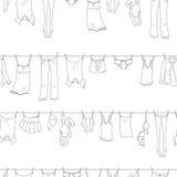 Sömlös illustration på temat av tvagningen och renlighet, olik kläder, mörka symboler för en kontur på ljus bakgrund vektor illustrationer