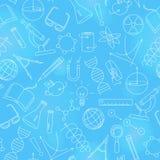 Sömlös illustration på temat av vetenskap och uppfinningar, diagram, diagram och utrustning, ljusa symboler för en kontur på blåt vektor illustrationer
