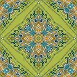 Sömlös indisk blom- paisley modell Etnisk mandalaprydnad Snör åt dekorativa runda beståndsdelar för tappning och ramen Hand som t Fotografering för Bildbyråer