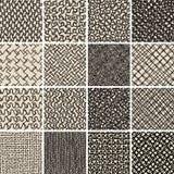 Sömlös ingen modelluppsättning för grundläggande klotter 8 i svartvitt Arkivbild