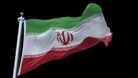 sömlös Iran flagga för 4k som vinkar i vind Inklusive alfabetisk kanal lager videofilmer