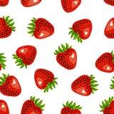 Sömlös jordgubbemodell på vit bakgrund stock illustrationer