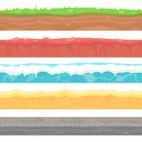 Sömlös jordning, jorder och landvektorn ställde in för UI Royaltyfri Bild