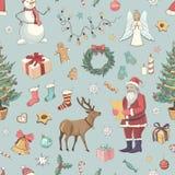 Sömlös jul för en färgmodellvektor Arkivbilder