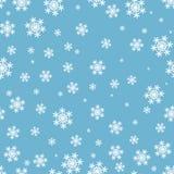 Sömlös julmodell för snöflingor på blå bakgrund stock illustrationer