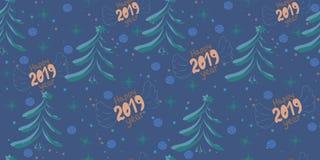 Sömlös julmodell för vektor med inskriften 2019 och det nya året, julträd Nytt 2019 år Patern med stjärnorna, stock illustrationer