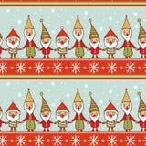 Sömlös julmodell med gnomer Arkivbilder