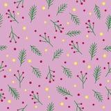 Sömlös julmodell med grönt granris, röda bär, prydliga stjärnor och cirklar för trädkvistguling på rosa bakgrund, vecto Stock Illustrationer