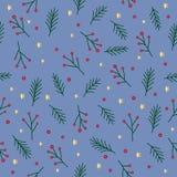 Sömlös julmodell med grönt granris, röda bär, stjärnor och cirklar för prydlig trädkvist guld- på blå bakgrund, vecto Royaltyfri Illustrationer