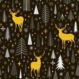 Sömlös julmodell med granar, snöflingor och hjortar Royaltyfri Fotografi