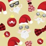 Sömlös julmodell med hipsteren santas Royaltyfri Fotografi