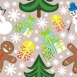 Sömlös julmodell med snögubbe- och ingefärakakan Royaltyfria Foton