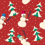 Sömlös julmodell med snögubben Royaltyfria Foton
