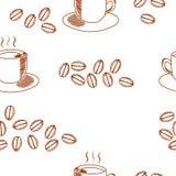 Sömlös kaffemodell med kaffekoppen och kaffebönor Arkivfoto