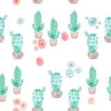 Sömlös kaktus i krukamodellbakgrund Royaltyfri Fotografi