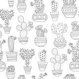 Sömlös kaktusmodell Royaltyfria Foton