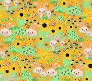 Sömlös kaninbakgrund för ungar Kaninmorotsolrosor arbeta i trädgården den orange sömlösa modellen Gullig vårkaninmodell vektor illustrationer