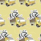 Sömlös kawaiipanda på lastbilmodellen royaltyfri illustrationer
